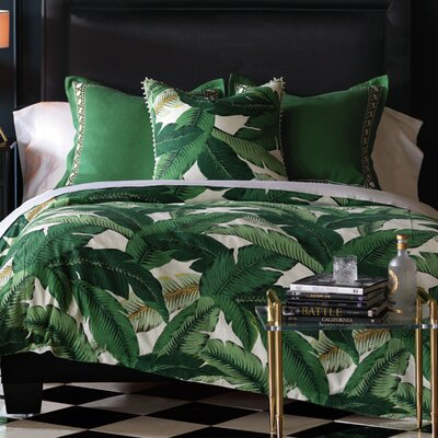 Lanai Palm Duvet Cover Size: Queen