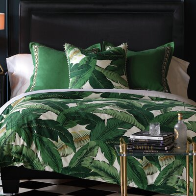 Lania Palm Button Tufted Comforter Size: Full