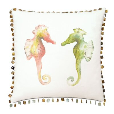 Lavinia Hand-Painted Seahorses Fabric Throw Pillow