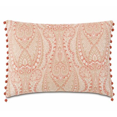 Rena Carnation with Beaded Trim Polyester Lumbar Pillow