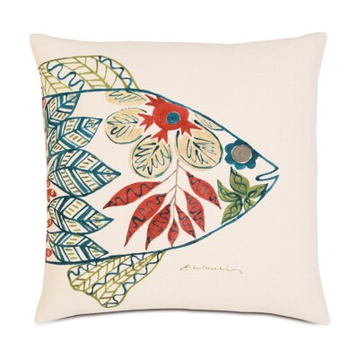 Suwanee Hand-Painted Fish Head Throw Pillow