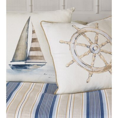 Maritime Hand Painted Ships Wheel Throw Pillow