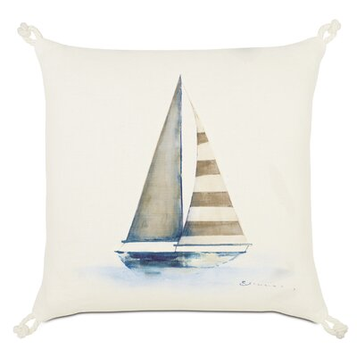 Maritime Hand Painted Yacht Throw Pillow