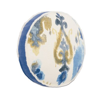 Aoki Azure Tambourine Linen Throw Pillow