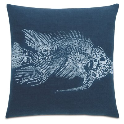 Nautical Snapper Linen Throw Pillow Color: White