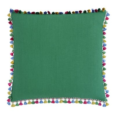 Le Pompon Tassels Linen Throw Pillow Color: Green