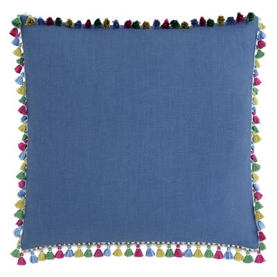 Le Pompon Tassels Linen Throw Pillow Color: Blue