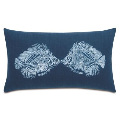 Nautical Angel Fish Linen Lumbar Pillow Color: White