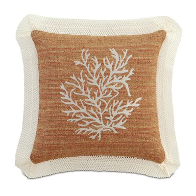Caicos Embroidered Coral Throw Pillow
