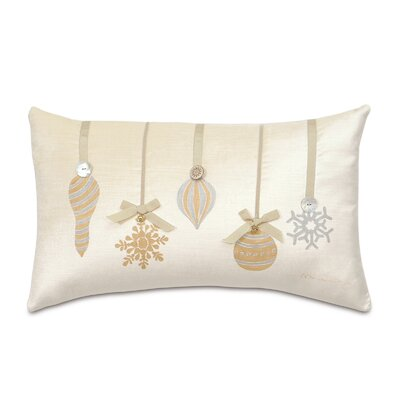 Deck The Halls Metallic Ornaments Lumbar Pillow