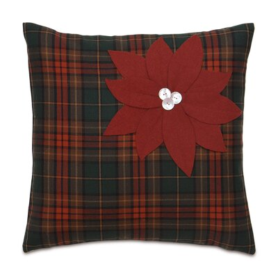 Home for The Holidays Poinsettia Plaid Throw Pillow