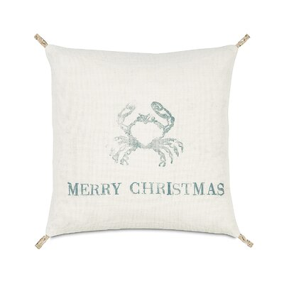 Coastal Tidings Festive Crab Throw Pillow