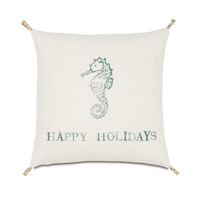 Coastal Tidings Festive Seahorse Throw Pillow