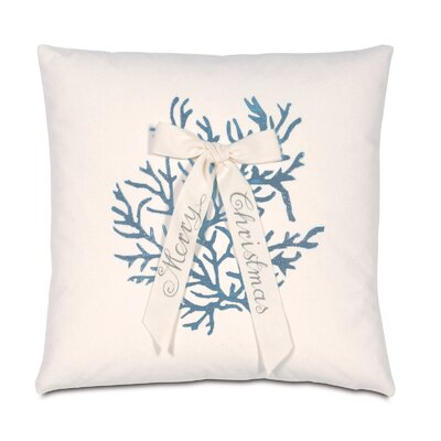 Coastal Tidings Coral Christmas Throw Pillow