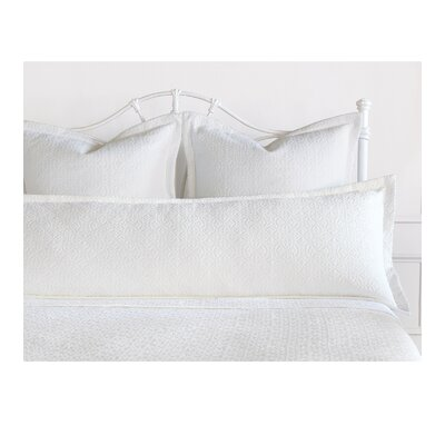 Mea Matelasse Cotton Lumbar Pillow Size: King, Color: White