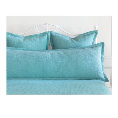 Mea Matelasse Cotton Lumbar Pillow Size: Queen, Color: Aqua