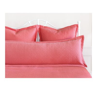Mea Matelasse Cotton Lumbar Pillow Size: King, Color: Coral