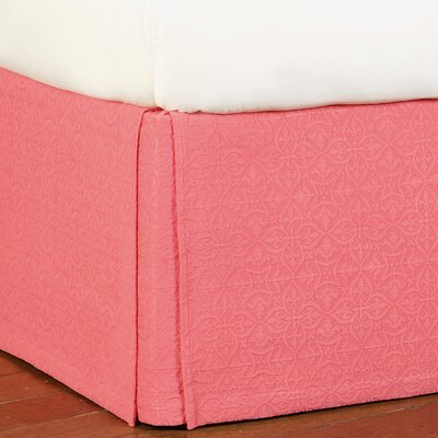 Mea Matelasse Cotton Bed Skirt Size: Queen, Color: Coral