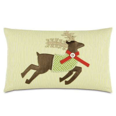 Seasonally Chic Reindeer McQueen Outdoor Lumbar Pillow