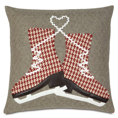 Nordic Holiday Glass Skaters Throw Pillow