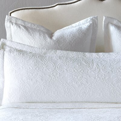Sandrine Matelasse Cotton Lumbar Pillow Size: Queen, Color: White