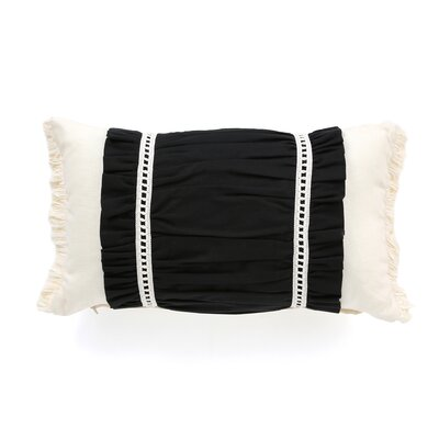 Evelyn Fullerton Ink Ruched Decorative Lumbar Pillow