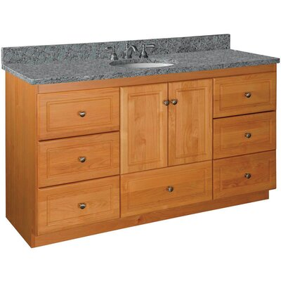 Simplicity Single Bowl Vanity Base Base Finish: Natural Alder, Depth: 21
