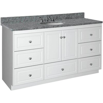 Simplicity Single Bowl Vanity Base Base Finish: Satin White, Depth: 21