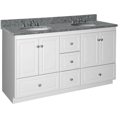 Simplicity 60 Double Bowl Bathroom Vanity Base Base Finish: Satin White