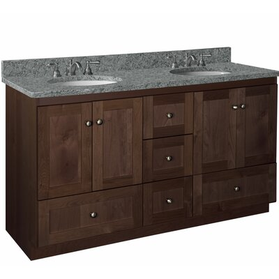 Simplicity 60 Double Vanity Base Base Finish: Dark alder finish