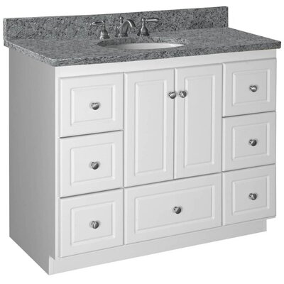 Simplicity 42 Single Bathroom Vanity Base Base Finish: Satin White, Depth: 21