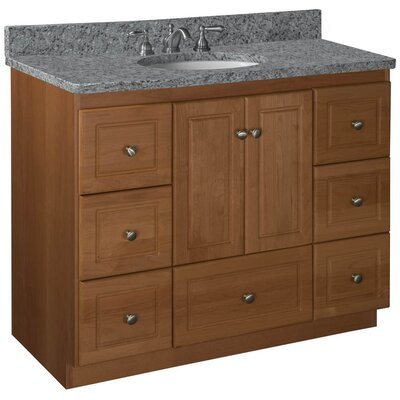 Simplicity 43 Single Cabinet Bathroom Vanity Base Base Finish: Medium Alder, Depth: 18