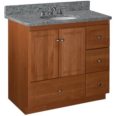 Simplicity 36 Bathroom Vanity Base Base Finish: Medium Alder, Depth: 21, Door: Ultraline