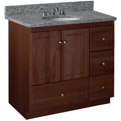 Simplicity 36 Bathroom Vanity Base Base Finish: Dark Alder, Depth: 21, Door: Ultraline