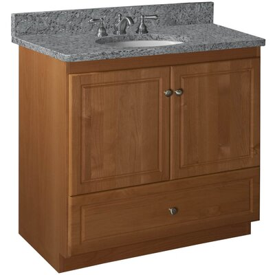 Simplicity 36 Bathroom Vanity Base Base Finish: Medium Alder, Depth: 18