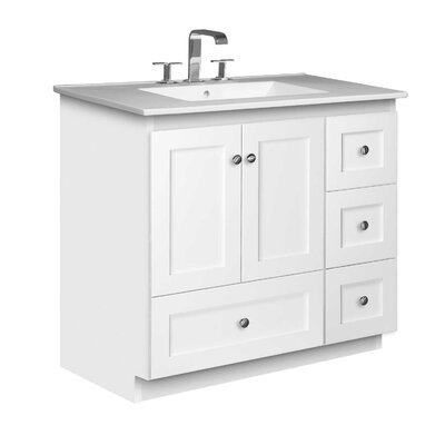 Simplicity 37 Single Bathroom Vanity Set Base Finish: Satin White