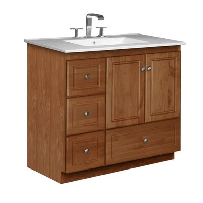 Simplicity 37 Single Bathroom Vanity Set Base Finish: Medium Alder