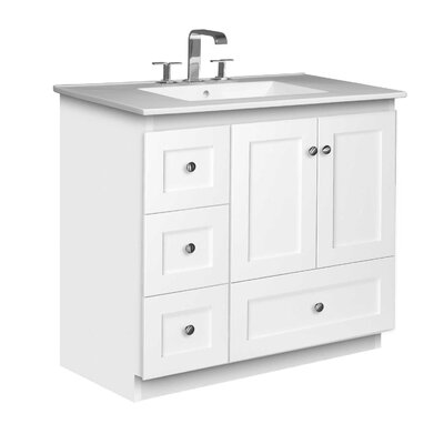 Simplicity 37 Single Bathroom Vanity Set Base Finish: Satin White