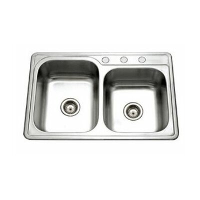 Glowtone 33 x 22 Topmount 60/40 Double Bowl Kitchen Sink