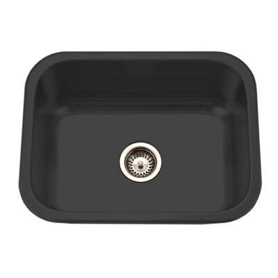 Porcela 22.76 x 17.4 Porcelain Enamel Steel Undermount Single Kitchen Sink Finish: Black