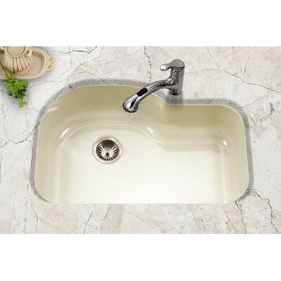 Porcela 31.26 x 20.67 Porcelain Enamel Offset Undermount Kitchen Sink Finish: Biscuit