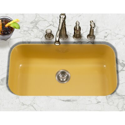 Porcela 30.9 x 17.32  Porcelain Enamel Steel Gourmet Undermount Single Kitchen Sink Finish: Lemon