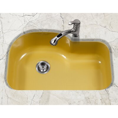 Porcela 31.26 x 20.67 Porcelain Enamel Offset Undermount Kitchen Sink Finish: Lemon