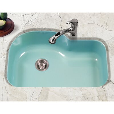 Porcela 31.26 x 20.67 Porcelain Enamel Offset Undermount Kitchen Sink Finish: Mint