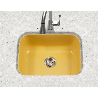 Porcela 22.76 x 17.4 Porcelain Enamel Steel Undermount Single Kitchen Sink Finish: Lemon