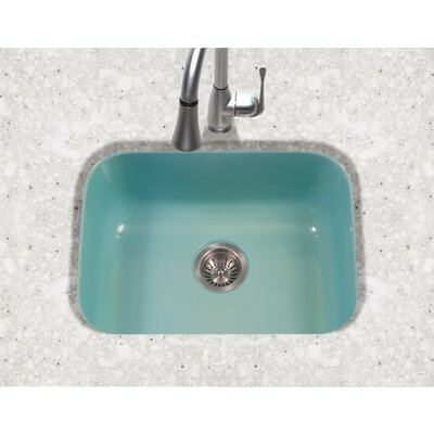 Porcela 22.76 x 17.4 Porcelain Enamel Steel Undermount Single Kitchen Sink Finish: Mint