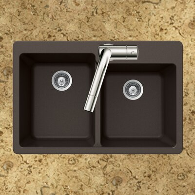 Quartztone 33 x 22 60/40 Double Bowl Topmount Kitchen Sink Finish: Mocha