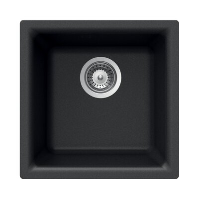 Quartztone 15.75 x 15.75 Prep/Bar Dual Mount Kitchen Sink Finish: Black