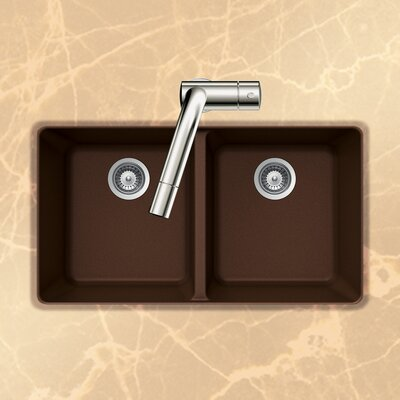Quartztone 33 x 18.5 50/50 Double Bowl Undermount Kitchen Sink Finish: Earth