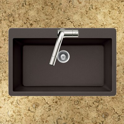 Quartztone 33 x 22 Large Single Bowl Topmount Kitchen Sink Finish: Mocha